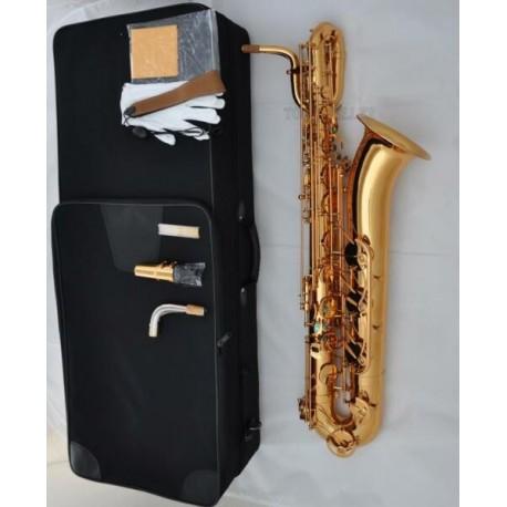 Professional Golden Baritone Saxophone Eb SAX Hand Engraving Bell Free Shipping