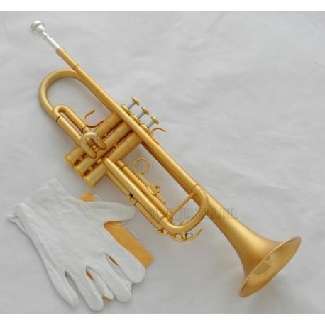 High grade Satin Gold Plated Trumpet Horn Bb Keys Leather Case