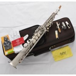 Pro-Grade Superbrass Straight Soprano saxophone High F# Sax Satin Nickel Finish
