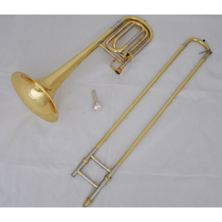 High QULITY Gold Lacq Bass Trombone horn Bb/F Keys Cupronickel slide +Case
