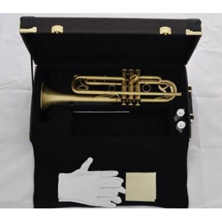 High Grade Matt Brass Superbrass Trumpet horn Monel Valves Leather Case 2 Mouthpiece