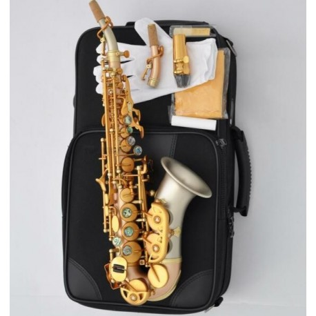 Professional Curved Soprano Saxophone Matt Rose Brass sax Cupronickel Bell With 2-Neck