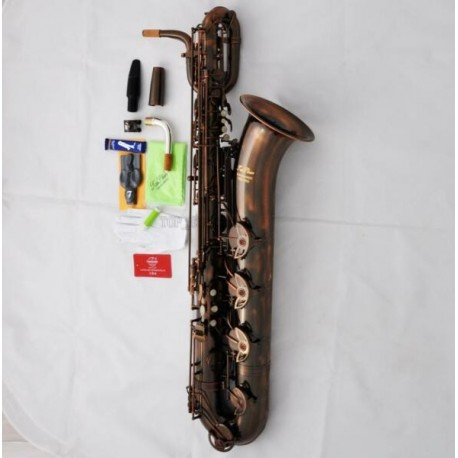 Professional Red Antique Brass Baritone Saxophone Superbrass Bari Sax With Case