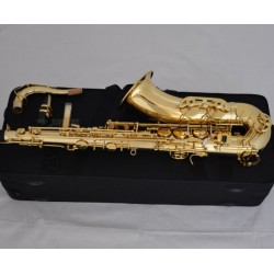 Professional Gold Bb Tenor Saxophone Sax Double bar Low B and C High F#