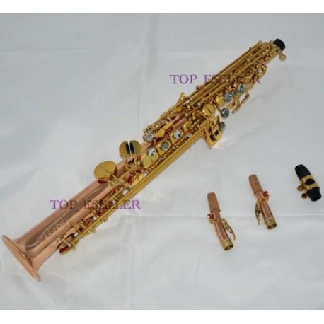Phosphor Brass Straight Soprano Saxophone High F# Sax Abalone Keys with Designer Case