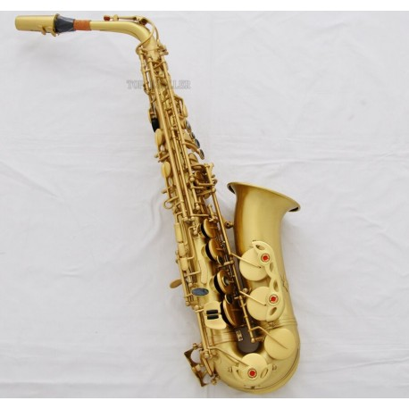 Top Quality Yellow Antique Alto Saxophone High F# Sax Black Shell Key With Case