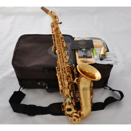 Professional Superbrass Gold Curved Soprano Sax Saxophone Abalone Bb High F#