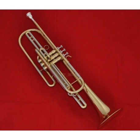 Professional Gold Brass Bass Trumpet Bb Key 3 Monel valves Horn With Case
