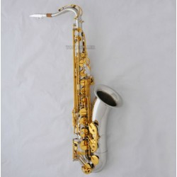 Professional Silver Gold Tenor Saxophone High F# SAX + Metal Mouthpiece with Case