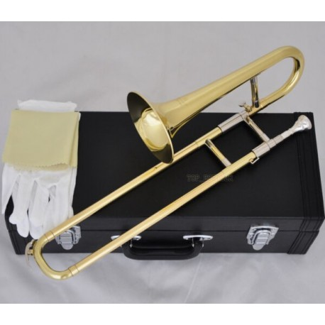 Top Gold Lacquer Slide Trumpet Bb Horn Sopano Trombone with Case Mouthpiece