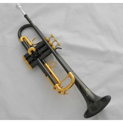 Professional.Black Nickel Gold Plated Trumpet Bb Key Engraving Bell Horn With Case