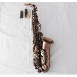 Professional Red Antique Alto Saxophone Rolled Note Hole Sax Double arm bars