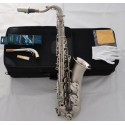 Professional Satin Nickel C Melody Saxophone Abalone Shell High F# Sax, 2 Necks