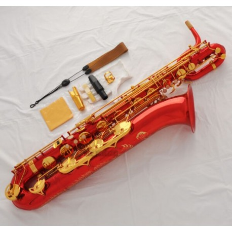 Professional Red Baritone Saxophone Dragon Engraving sax Low A to High F# + Designer Case