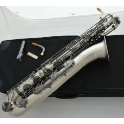 Professional Satin Nickel Baritone Saxophone Eb Sax Black Key With Case