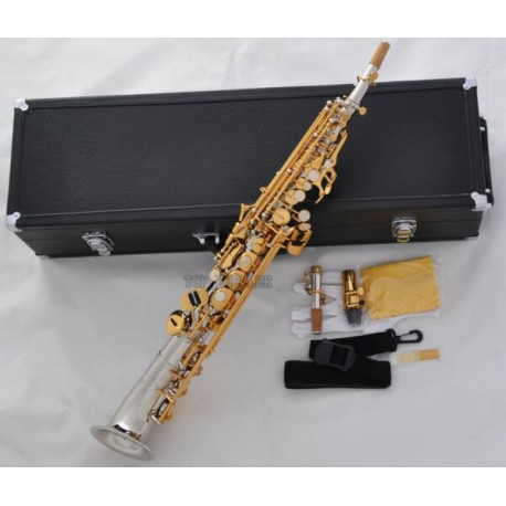Professional Silver Gold Soprano saxophone Saxello Sax High F#, G key Leather Case