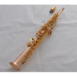 Professional Rose Brass Neck Built-in Soprano Saxophone High F# G Key Sax est