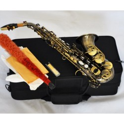 Top New Antique Brass Curved Soprano Saxophone sax Bb Keys High F? With Case