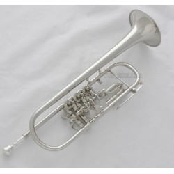 Professional. Silver Nickel Plated 3 Rotary Valves Trumpet Bb Key Horn With Case