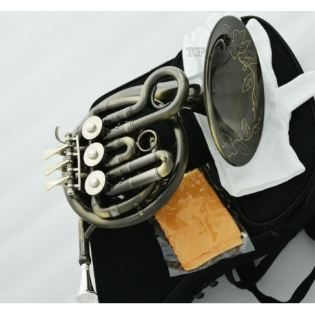 Newest Antique Piccolo Mini French Horn B-flat Pocket horn Engraving Bell W/case