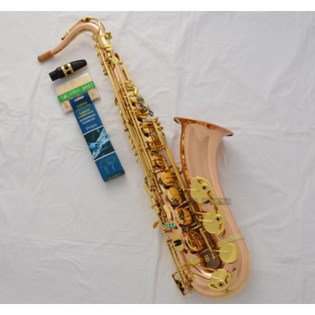Professional Rose Brass Tenor Saxophone Bb Sax High F# Abalone Shell With Case