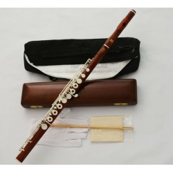 Professional Rose Wooden Silver C# Trill Flute European Headjoint Wood Case
