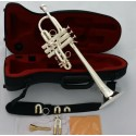 Professional Silver Plated Eb/D Trumpet horn Monel Valve With 2 Mouthpiece Case