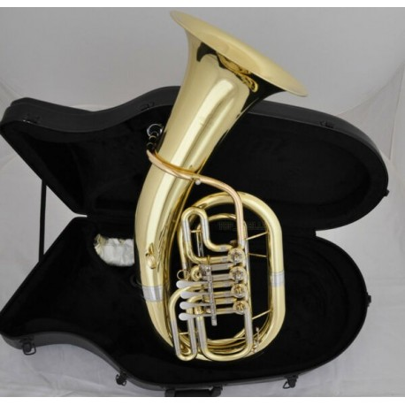 Professional B-Flat Gold Euphonium Horn 4 Rotary Valves Piston With Case