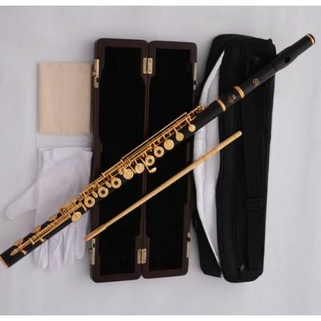 Pro Superbrass Ebony Gold Plated C# Trill Flute Open hole B foot Split E Wood Case