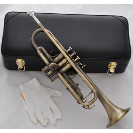 High grade Antique Brass Trumpet Horn Bb Keys Leather Case