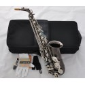 New Black nickel Silver Nickel Alto Saxophone Engraved bell Saxofon ABALONE Key