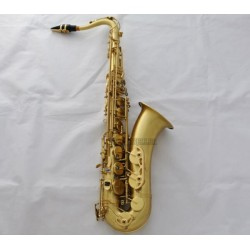 Professional Matt Gold Lacquer Tenor Saxophone Sax ABALONE Keys, High F# with Case