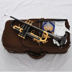 Professional Black Nickel Gold Trumpet Horn Germany Brass 3 Monel Valve Case