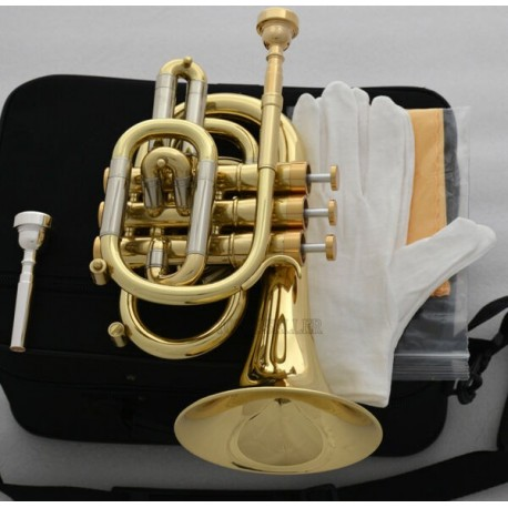 Professional Bb Gold Pocket Trumpet Monel Valves Free 2 Mouthpiece With case