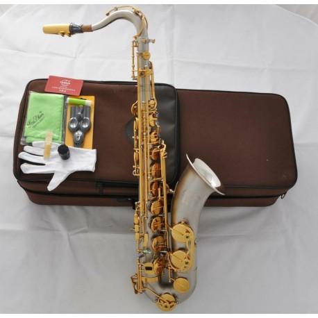 Professional Satin Nickel Superbrass Tenor Saxophone Sax Abalone Key High F#