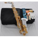White Lacquer Alto Saxophone Eb Sax Abalone Keys High F# With Case 10pc Reeds