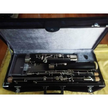 Professional Black Short Reach C Tone Bassoon Silver Key 2Pc Cupronickel Bocal +Case
