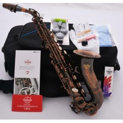 Professional Superbrass Red Antique Curved Soprano Saxophone High F# Key Bb Sax