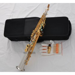 Top Silver Nickel Gold Straight Soprano Saxophone sax High F# ABALONE Keys, 2 Necks