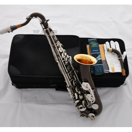 Professional Black Nickel Silver C Melody saxophone Gold Bell Sax Hand Engraving