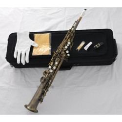 Pro Neck Built-in Soprano Saxophone Bb Antique Sax High F# + Metal Mouthpiece