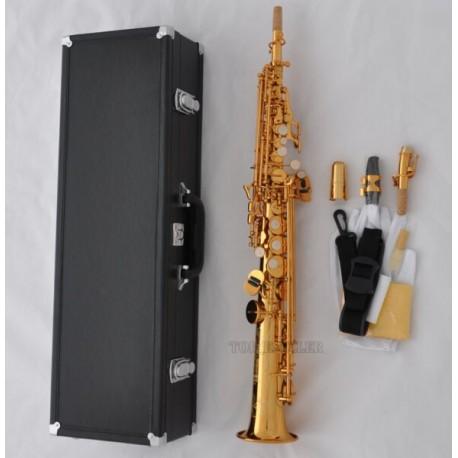 Pro. New Electrophoresis Gold Straight Soprano Sax Mercury Saxophone Hard Case