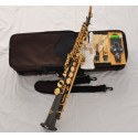 Professional Superbrass Soprano Saxophone Black Nickel Gold Sax Bb High F#, 2 Necks