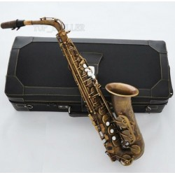 Professional Retro Brass Alto Saxophone 875 Model Eb Sax High F# with Case