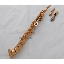 New Rose Gold Plated Soprano saxophone Saxello Bb sax High F#, G Key Leather Case