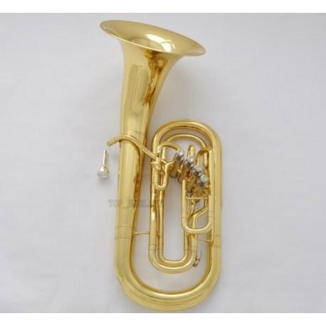 Professional Golden Lacquer 4 Front Action Piston Marching Euphonium Horn EST