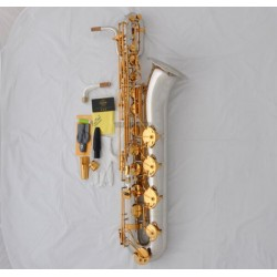 Professional Superbrass Baritone Saxophone Silver Gold Sax Low A Key German Mouth