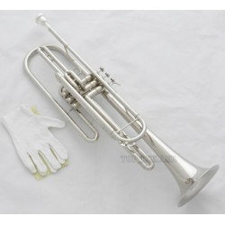 Professional Bass Trumpet Silver Nickel 3 Piston B-Flat Horn Brand With Case
