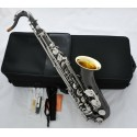 Professional Black Nickel Silver Tenor Saxophone Bb Sax Gold Bell with Case