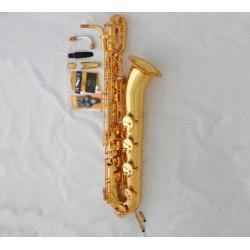 Professional Superbrass Gold Baritone Saxophone Pillar Sax Low A Key Leather Case
